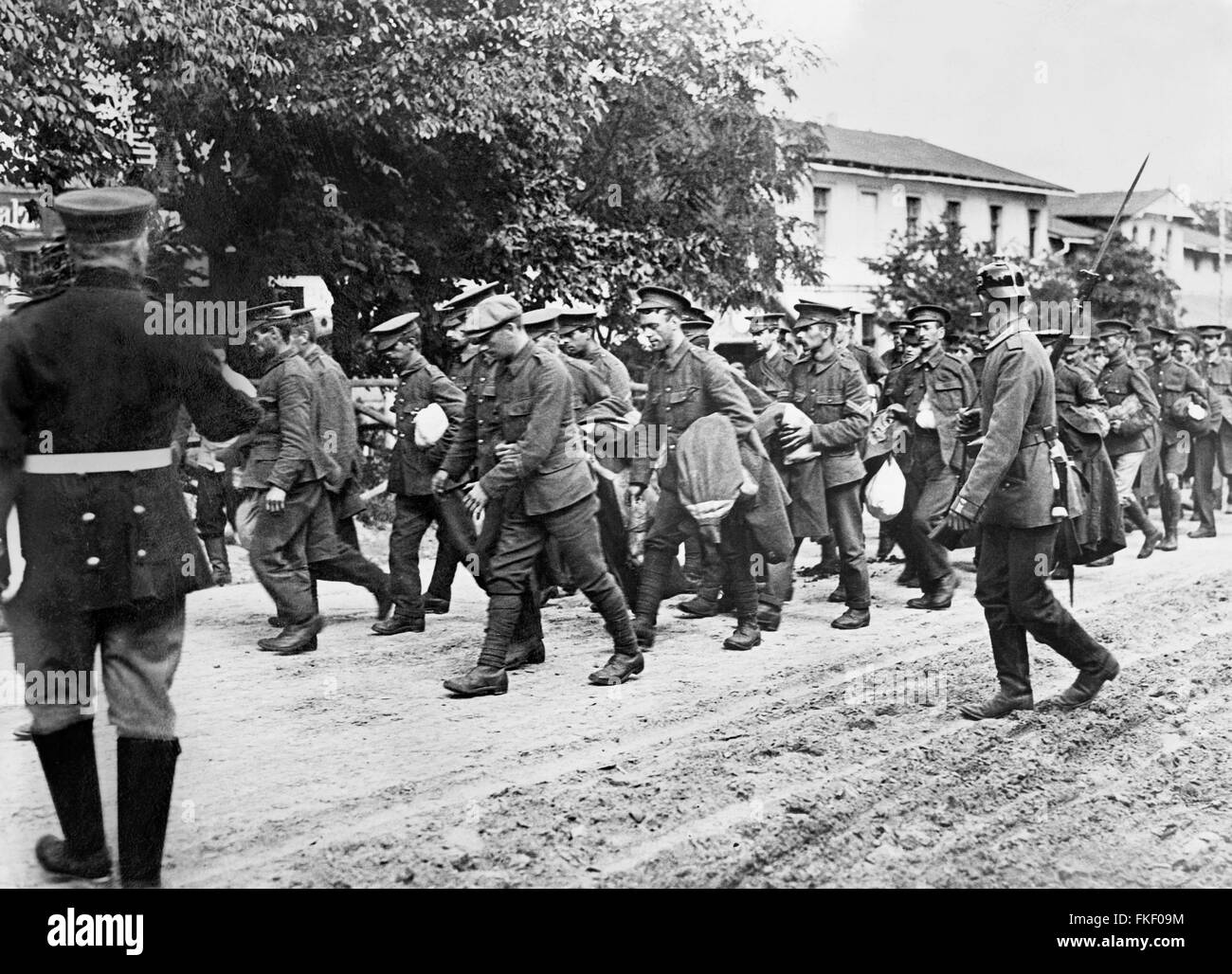 British prisoners in Germany being taken to prisoner-of-war camps after battles in the Somme during World War I. - Stock Image
