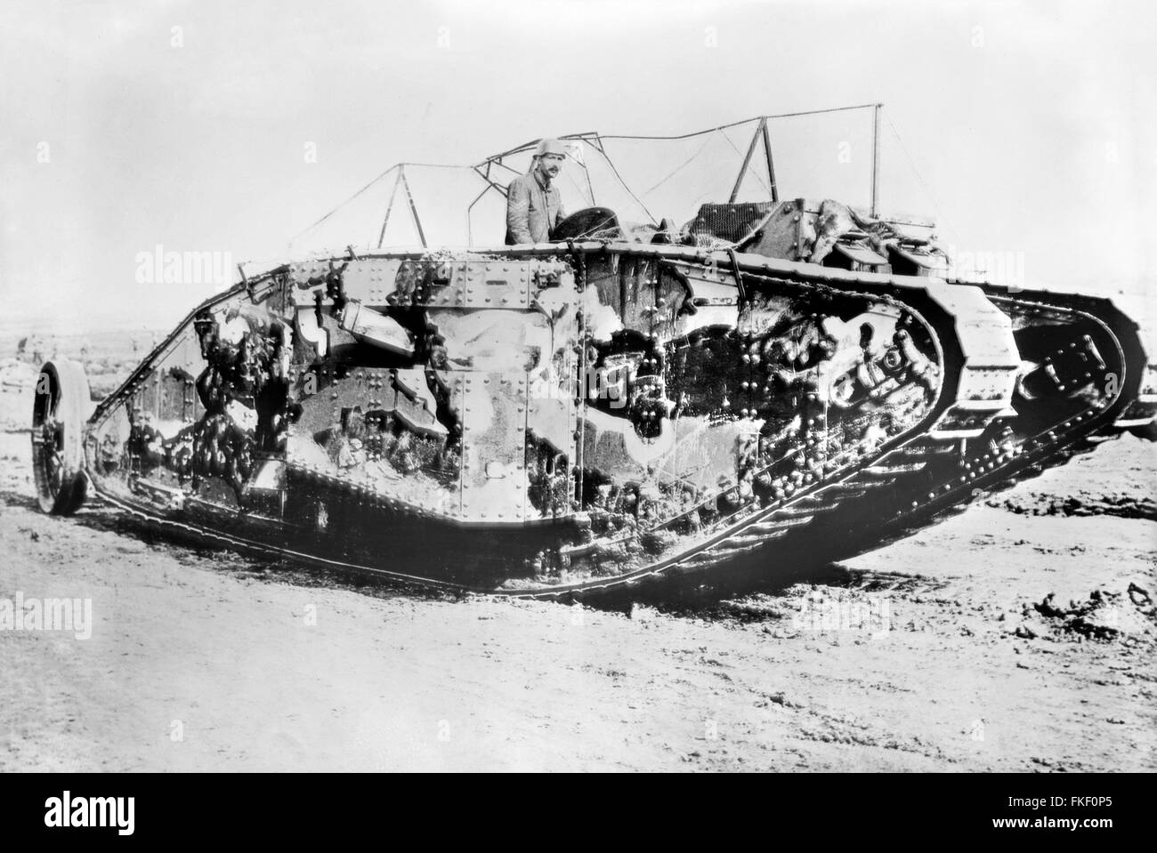 British tank at the Battle of Flers-Courcelette in the Somme, France in World War I. Photo from Bain News Service, - Stock Image