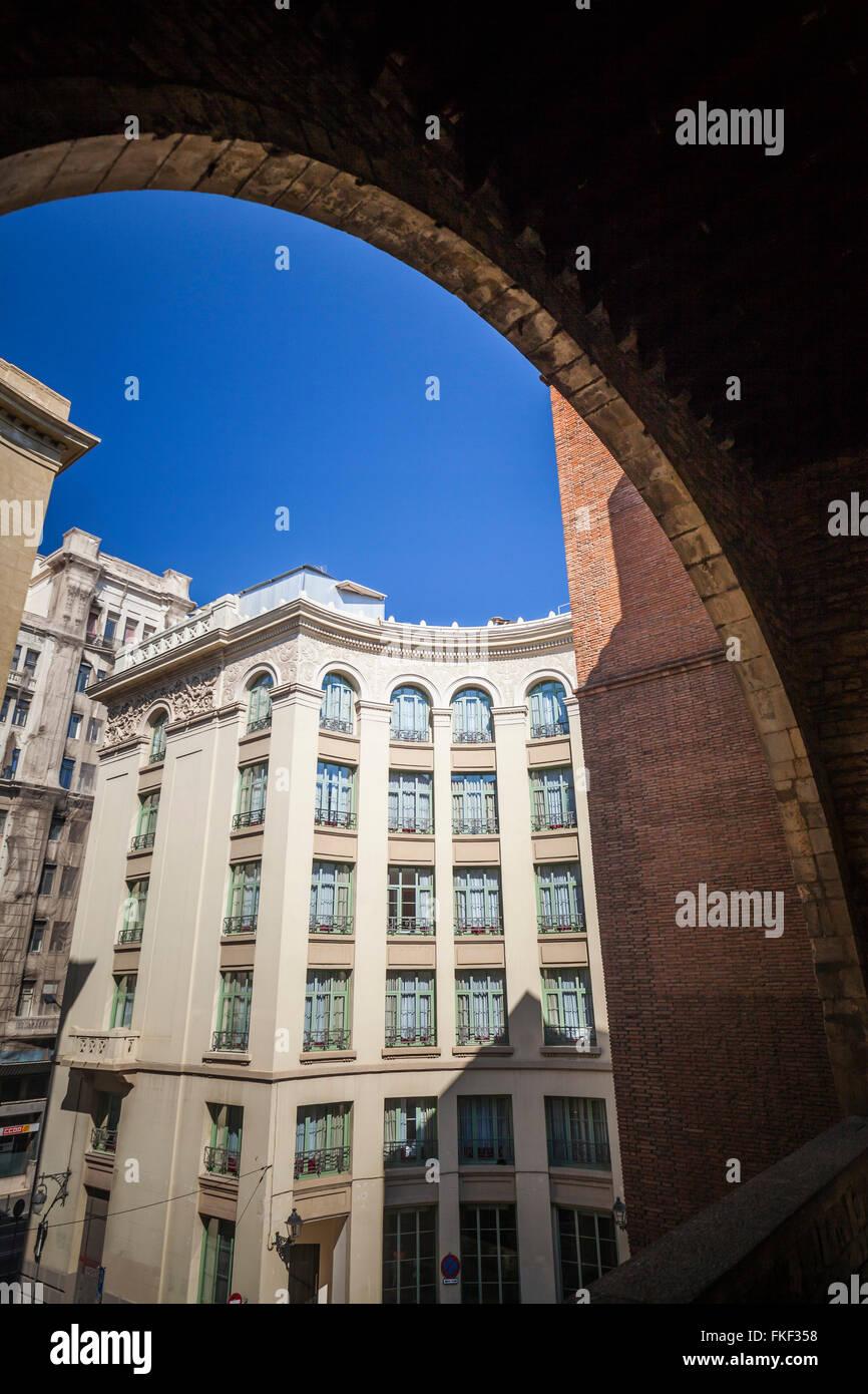 Building facade from Palau Requesens- Reial Academia de bones lletres. Barcelona. - Stock Image