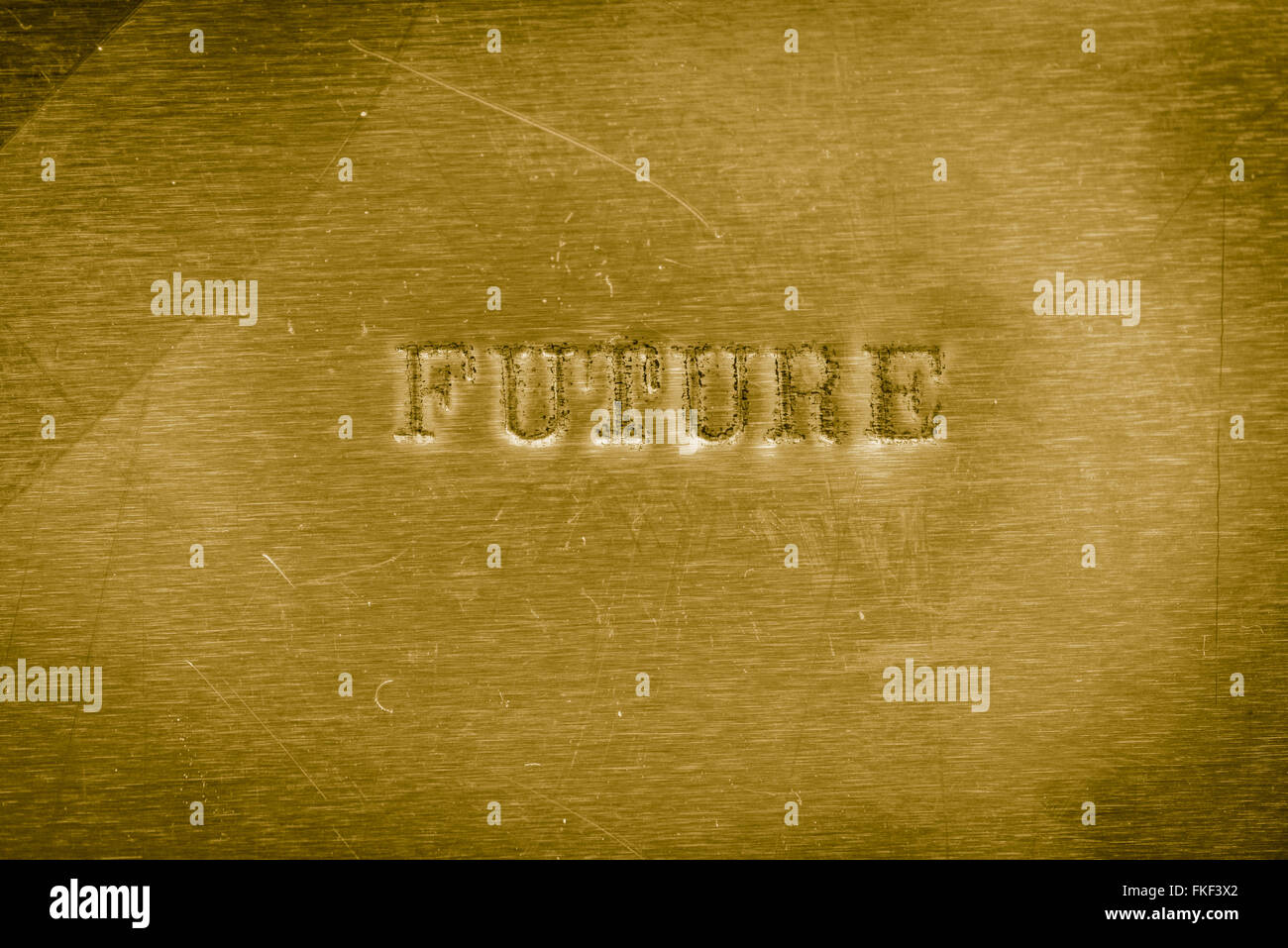 word future printed on  golden metallic background texture - Stock Image