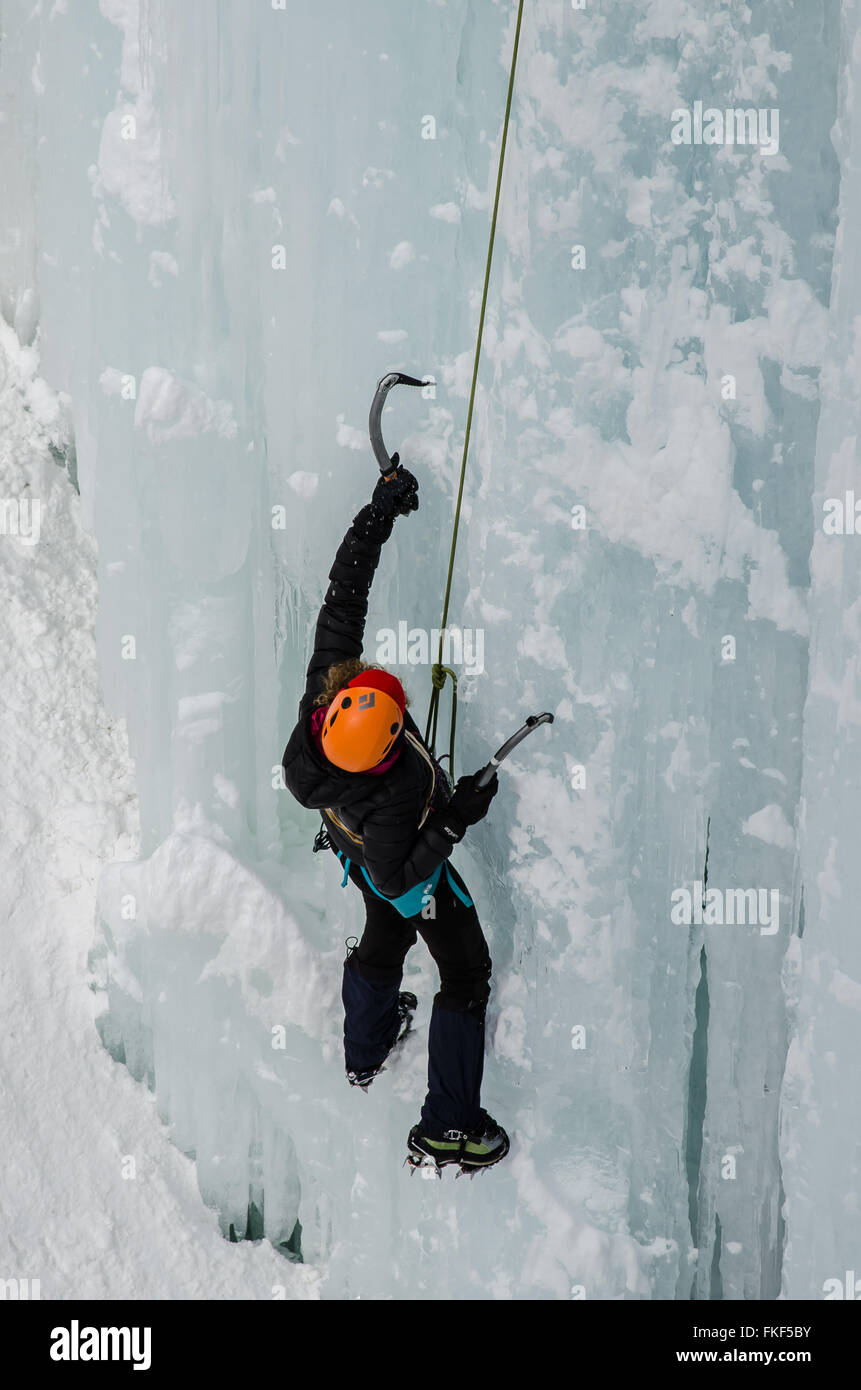 Every winter massive ice walls with impressive icicles form at in the canyon of Pontresina. Dedicated mountain guides - Stock Image