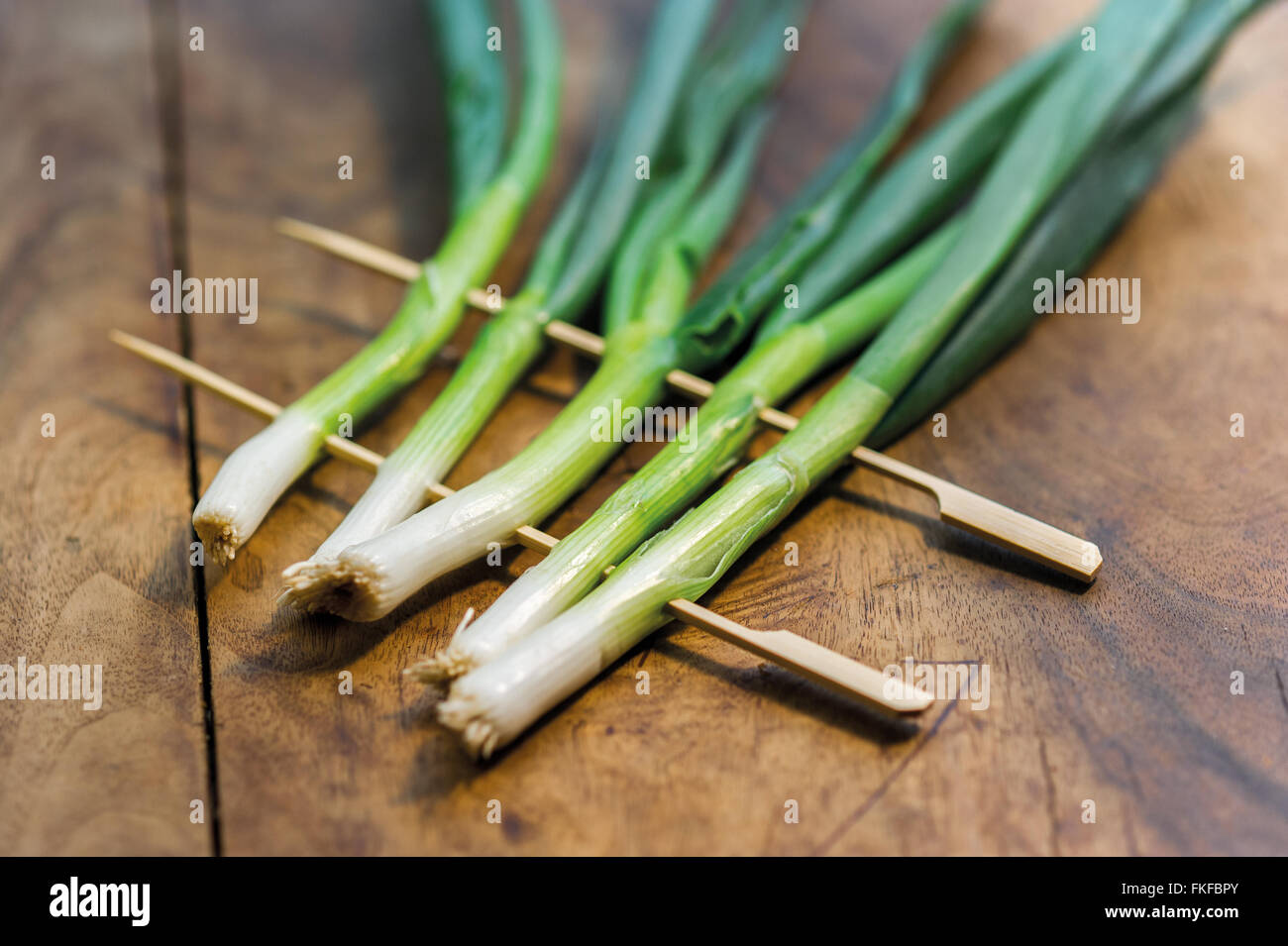 green, scallions, spring, onions, - Stock Image