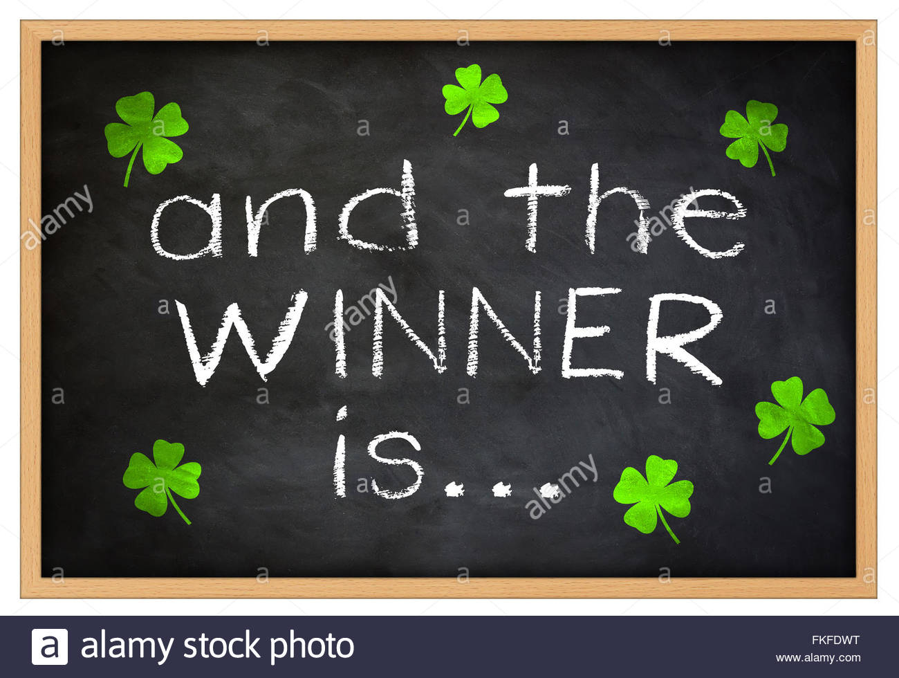 and the WINNER is... chalkboard information - Stock Image
