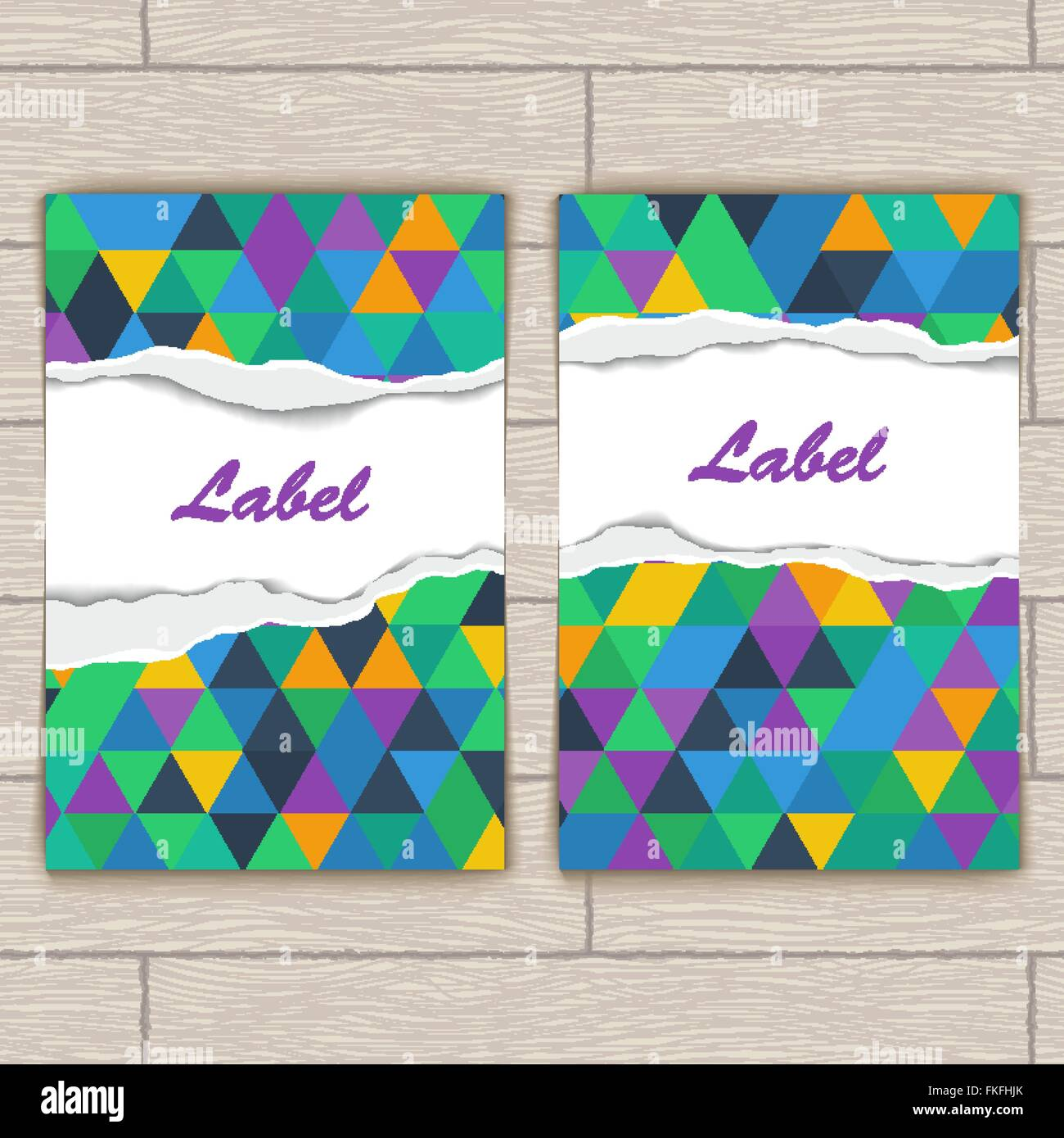 Card with Pattern of Colorful Lozenges - Stock Vector