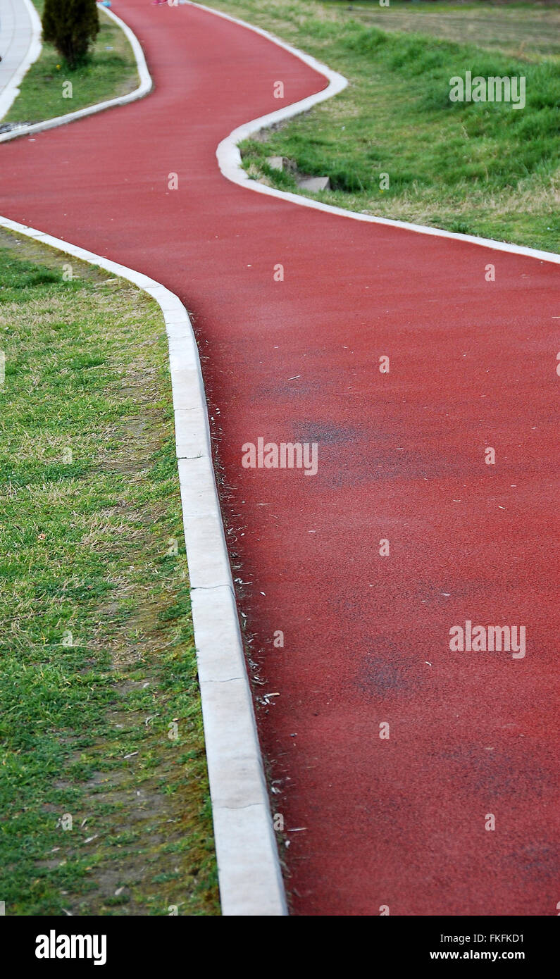 Running track with rubber base for recreation - Stock Image