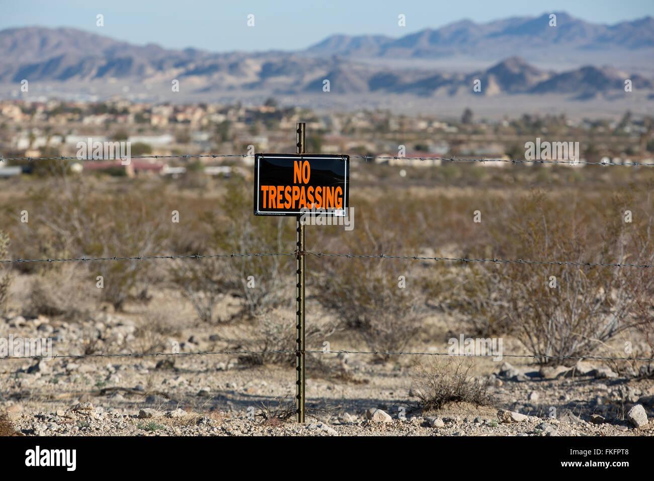 Fenced land, Twentynine Palms, California, USA - Stock Image