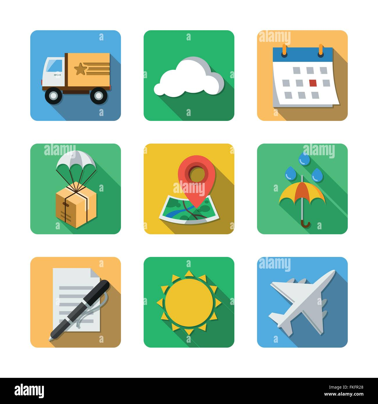 Nine different icons in a flat style Stock Vector