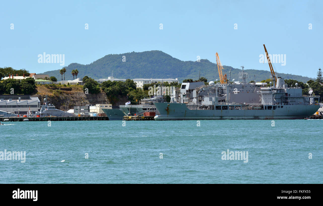 Devonport Naval Base Auckland New Zealand. It's the home of the Royal New Zealand Navy since 1841. - Stock Image