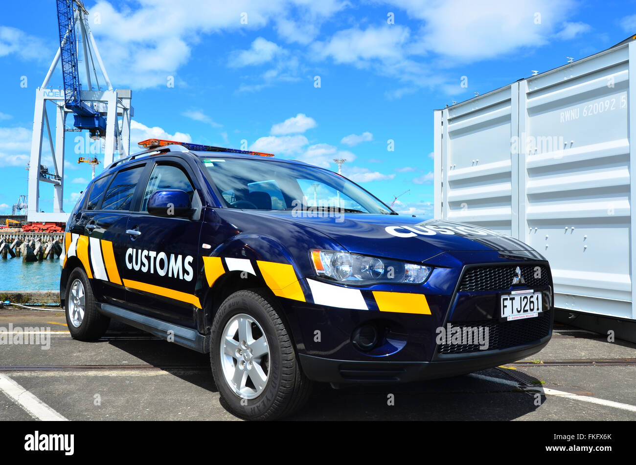 AUCKLAND,  NZL - JAN 30 2016:New Zealand Customs Service vehicle  in Ports of Auckland. The agency responsible for - Stock Image