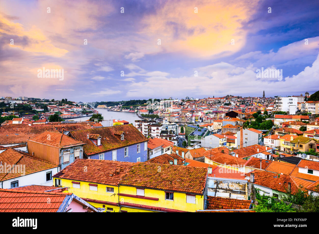 Vila Nova de Gaia, Portugal old town skyline towards Porto. - Stock Image