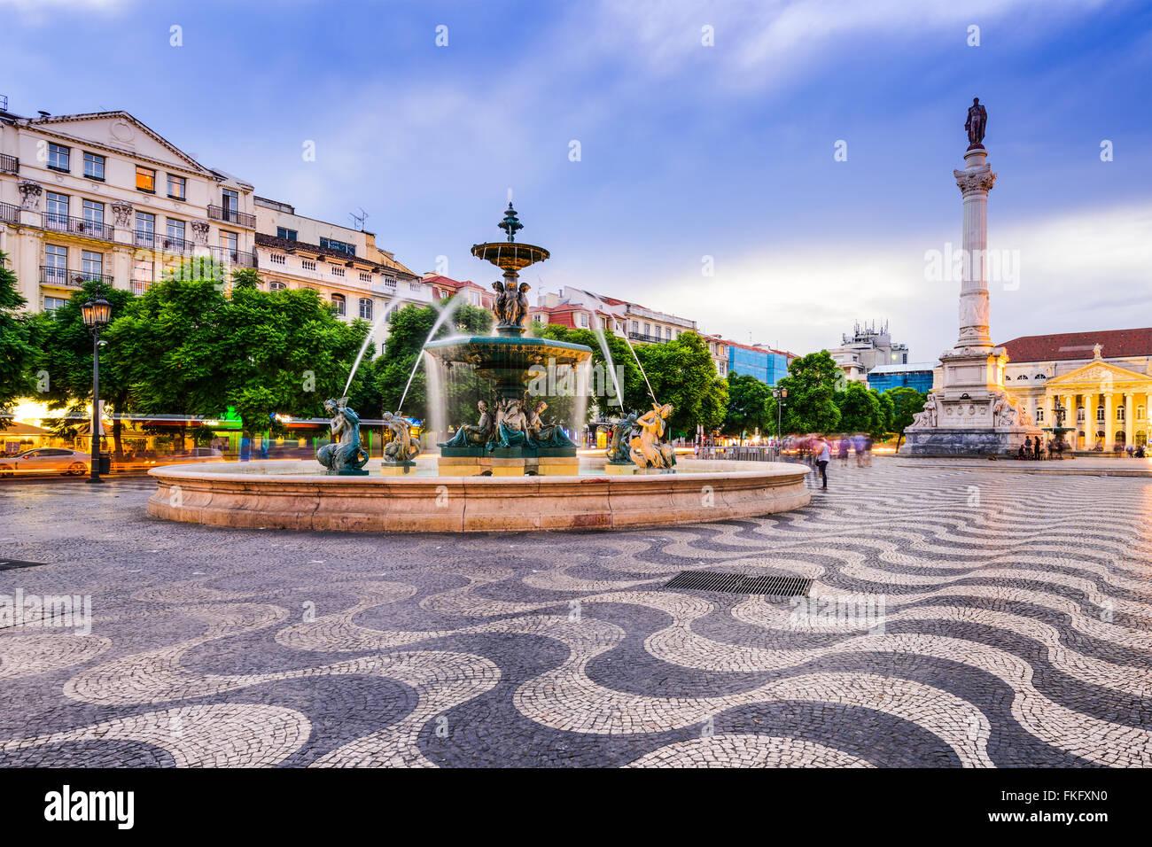 Lisbon, Portugal cityscape at Rossio Square. - Stock Image