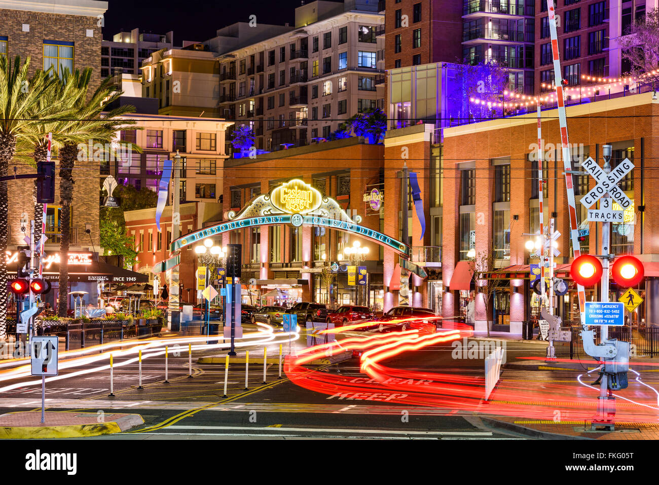 Gaslamp Quarter at night in San Diego, California, USA. Stock Photo