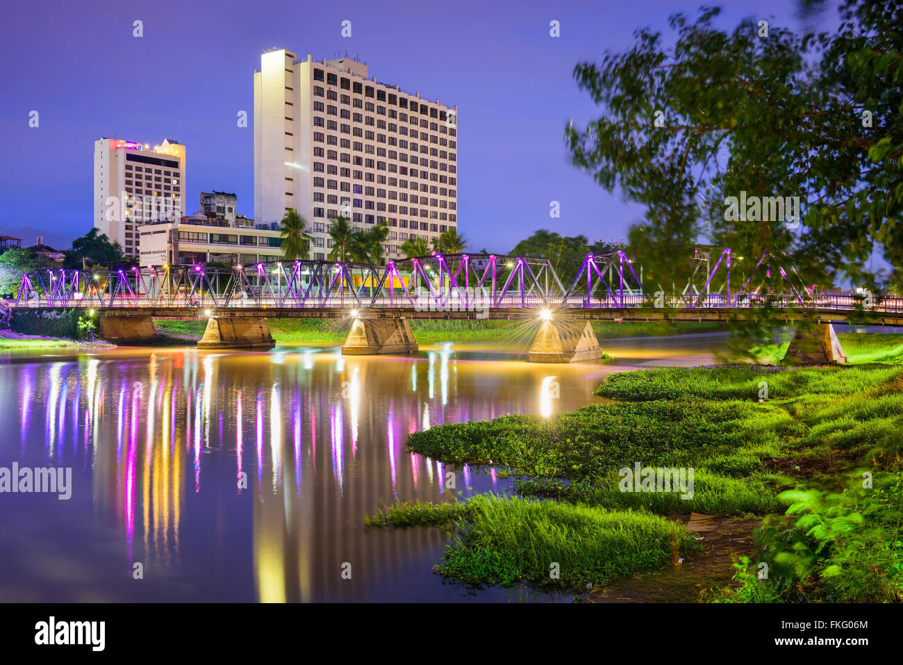 Chiang Mai, Thailand hotel skyline on the Ping River. - Stock Image
