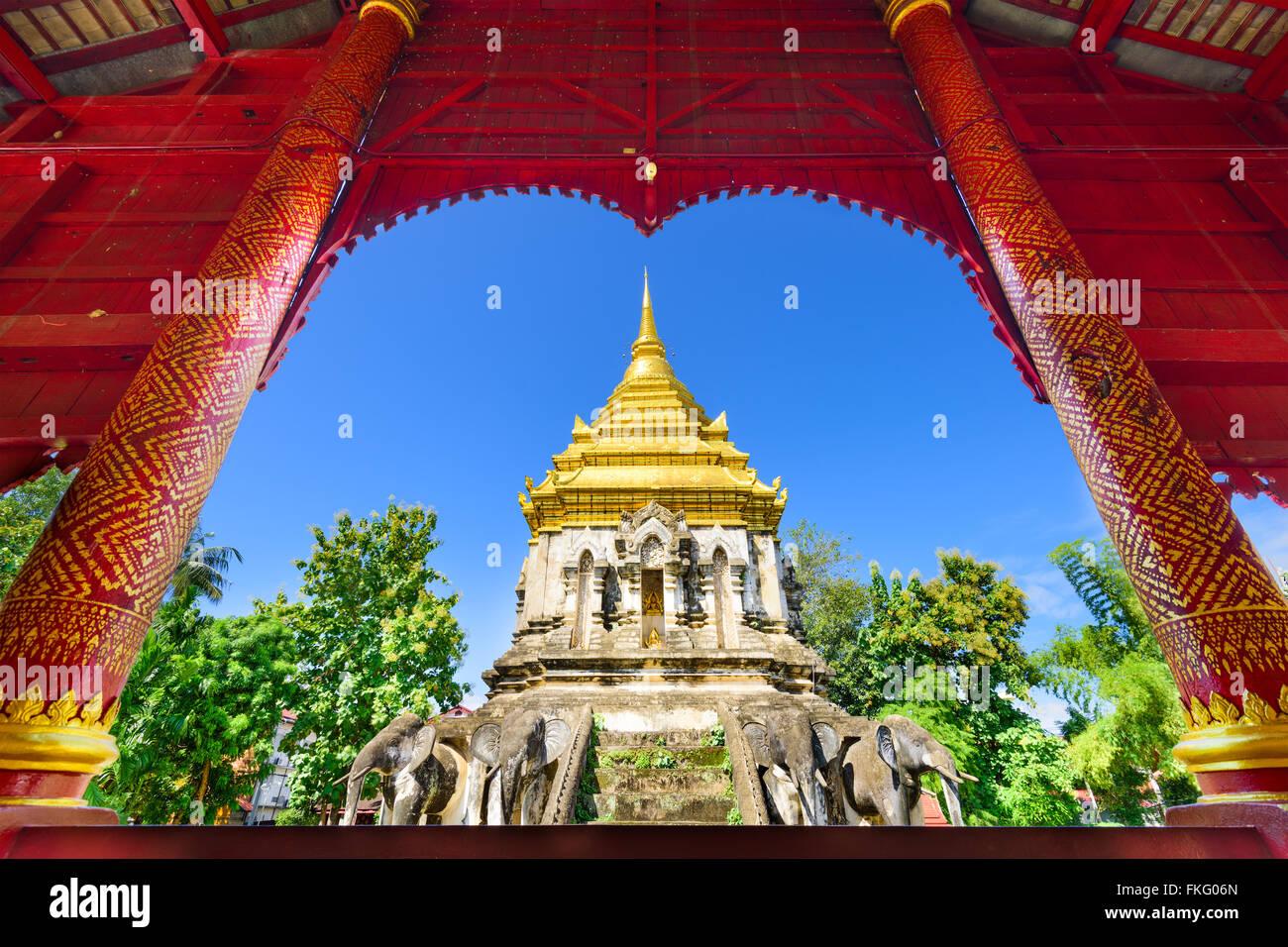 Chiang Mai, Thailand at Wat Chiang Man. - Stock Image
