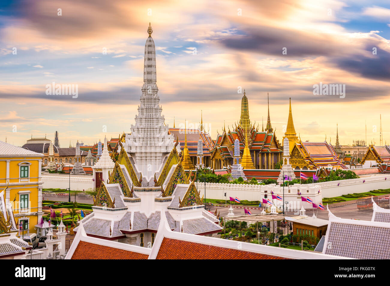 Bangkok, Thailand skyline at Temple of the Emerald Buddha and the Royal Palace. - Stock Image