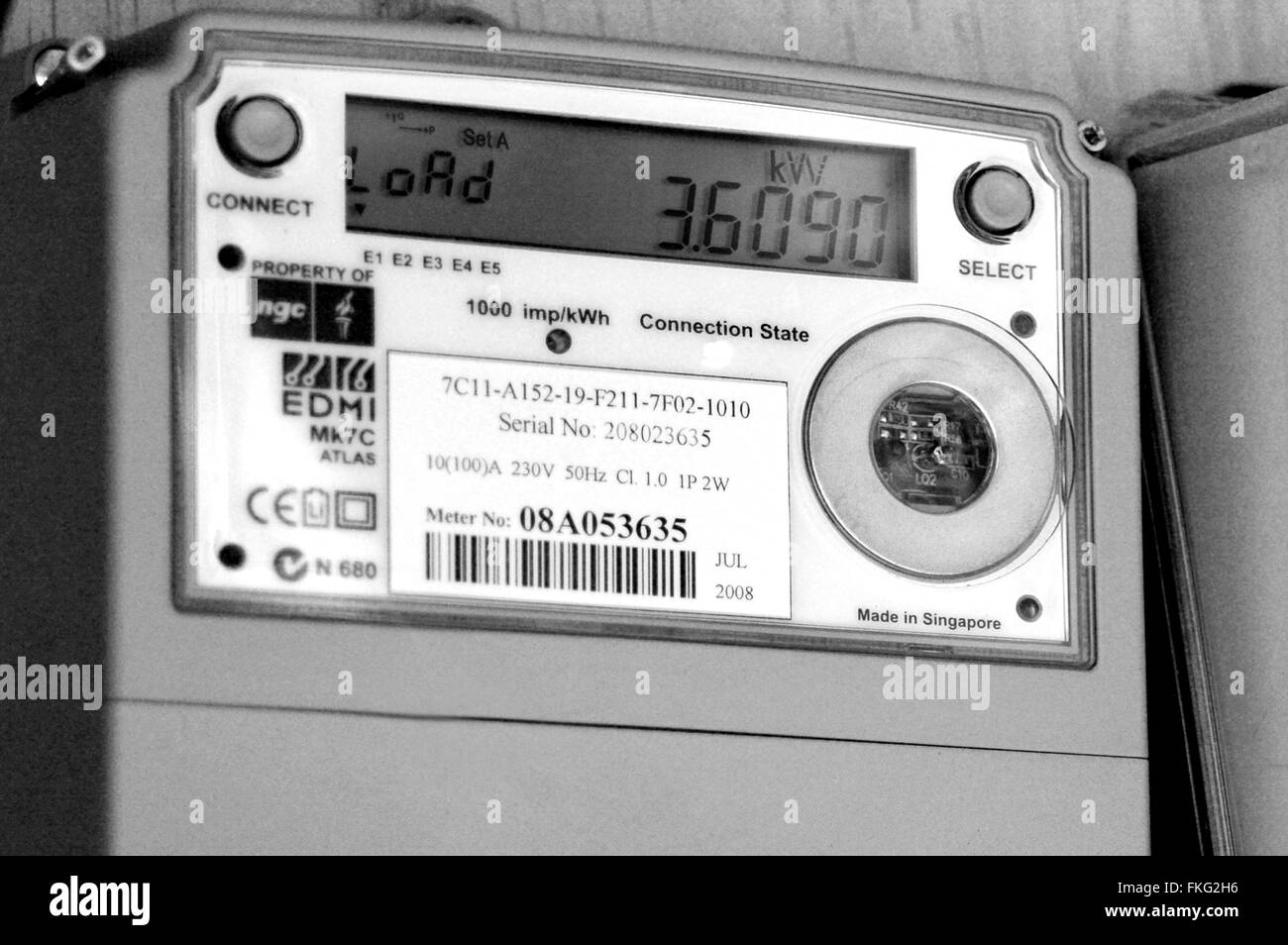 AUCKLAND - DEC 06 2015:Smart meter.Concerns have been raised about the safety of smart meters, mainly because they - Stock Image