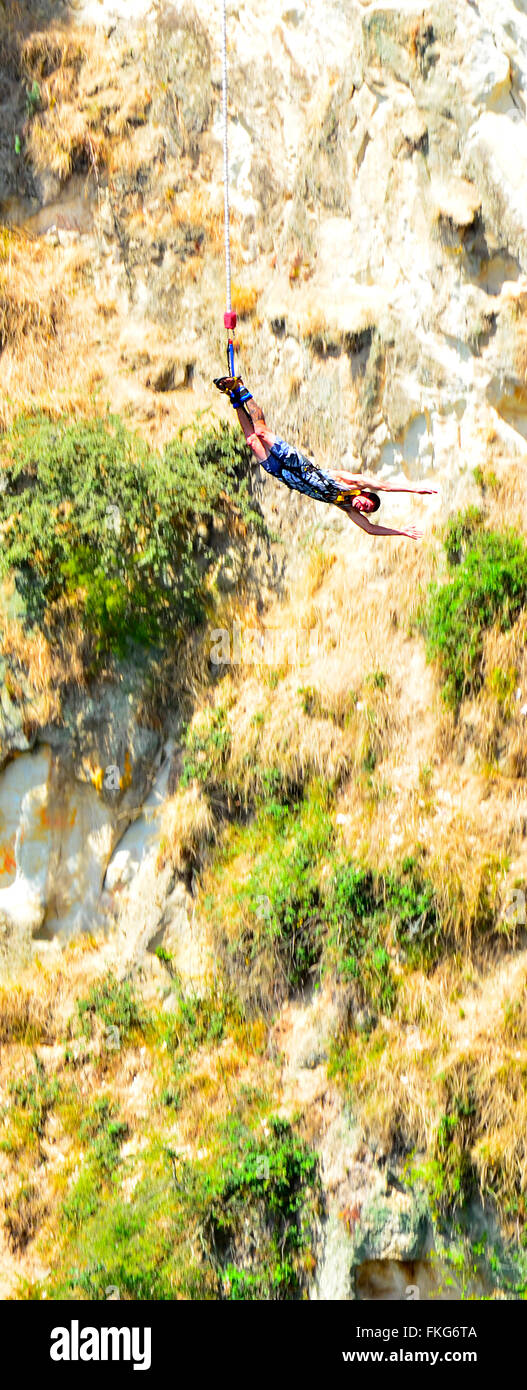TAUPO, NZL - JAN 14 2016:Person during bungy jump. Despite its inherent risk, there have only been few deaths from - Stock Image