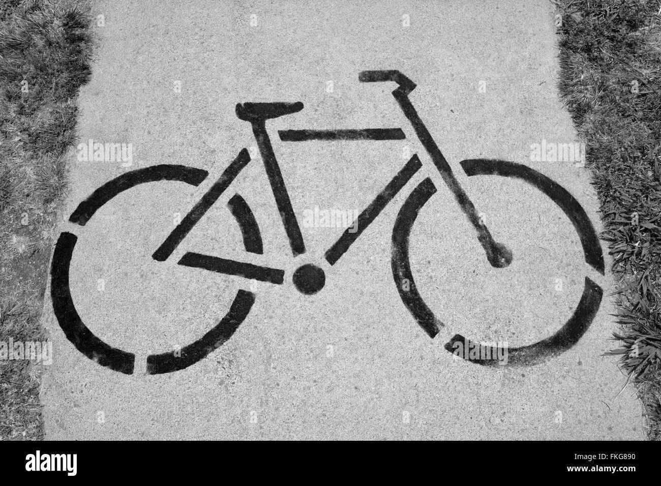 Bicycle sign of cycle trail on the road of bike path. - Stock Image