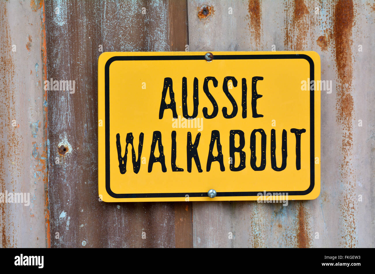 Aussie walkabout sign on an old barn wall. - Stock Image