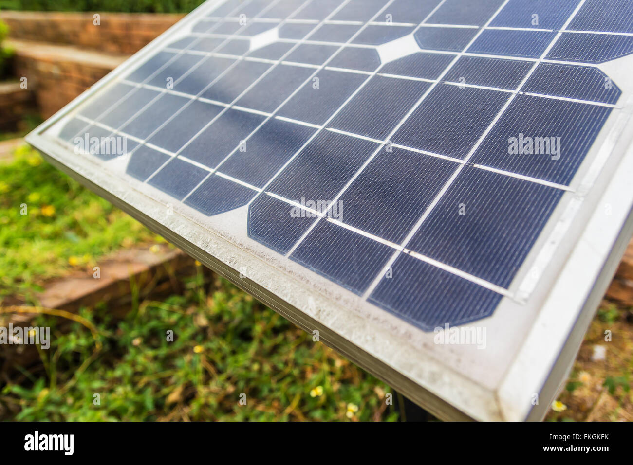 Close up shot Solar panels in a photovoltaic power plant - Stock Image