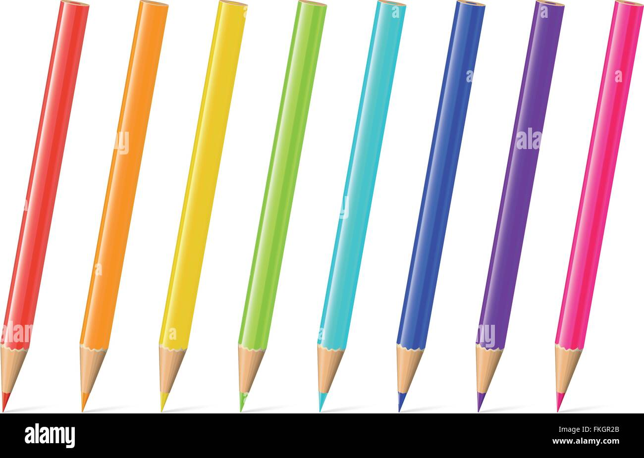 Set of eight pencils in rainbow colors. - Stock Image
