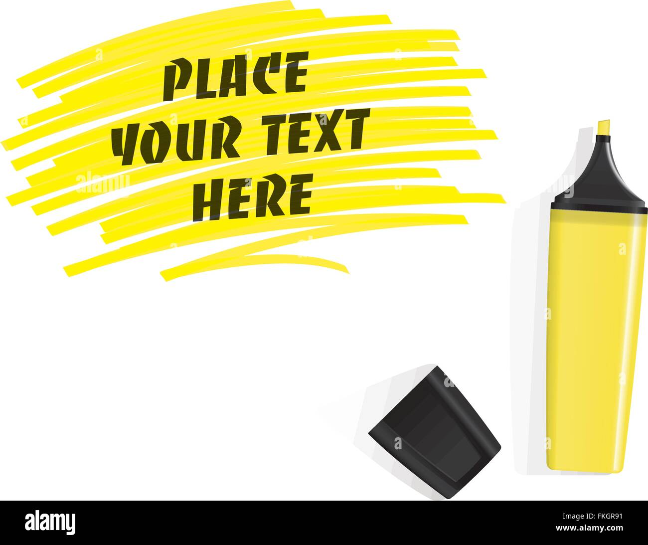 Realistic Yellow Highlighter And Cap On White Background