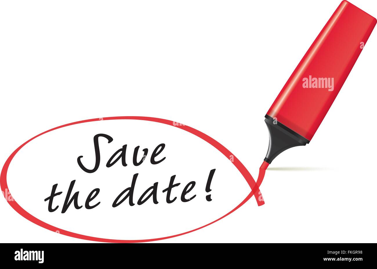 red highlighter drawing squiggle around the words save the date
