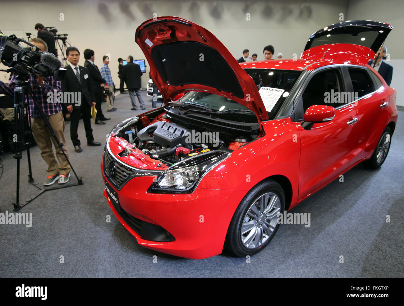Tokyo, Japan. 9th Mar, 2016. Japanese automaker Suzuki Motor introduces the new compact vehicle 'Baleno' - Stock Image