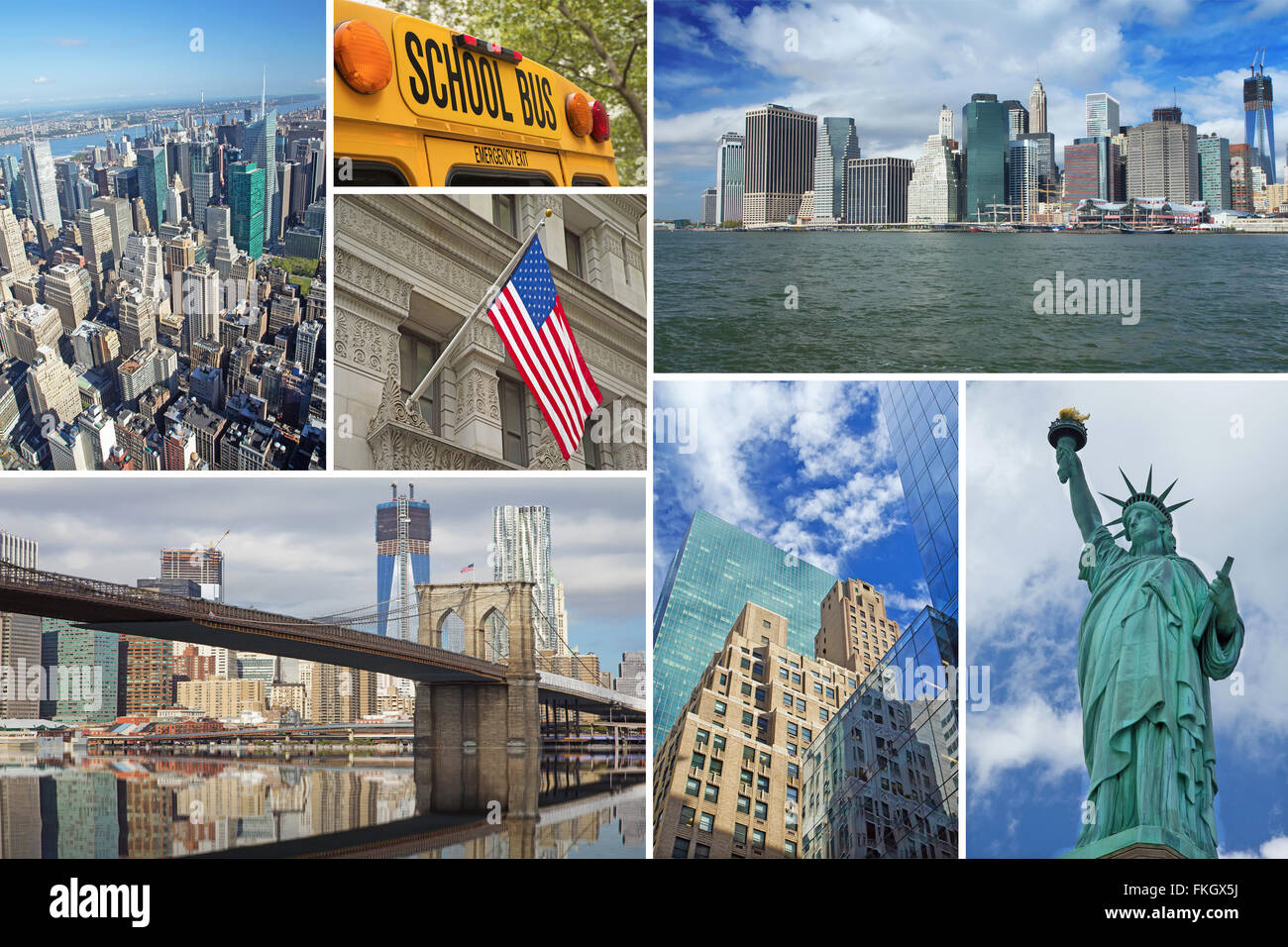 New york city famous landmarks picture collage stock photo for Iconic new york landmarks