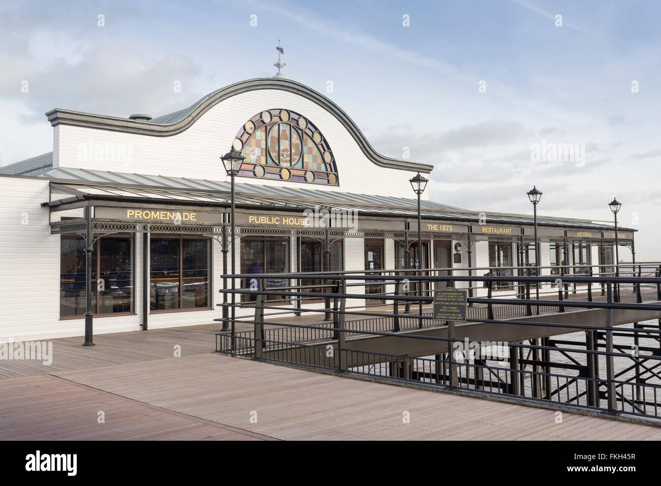 Tea Room Restaurant Cleethorpes Pier Lincolnshire UK - Stock Image