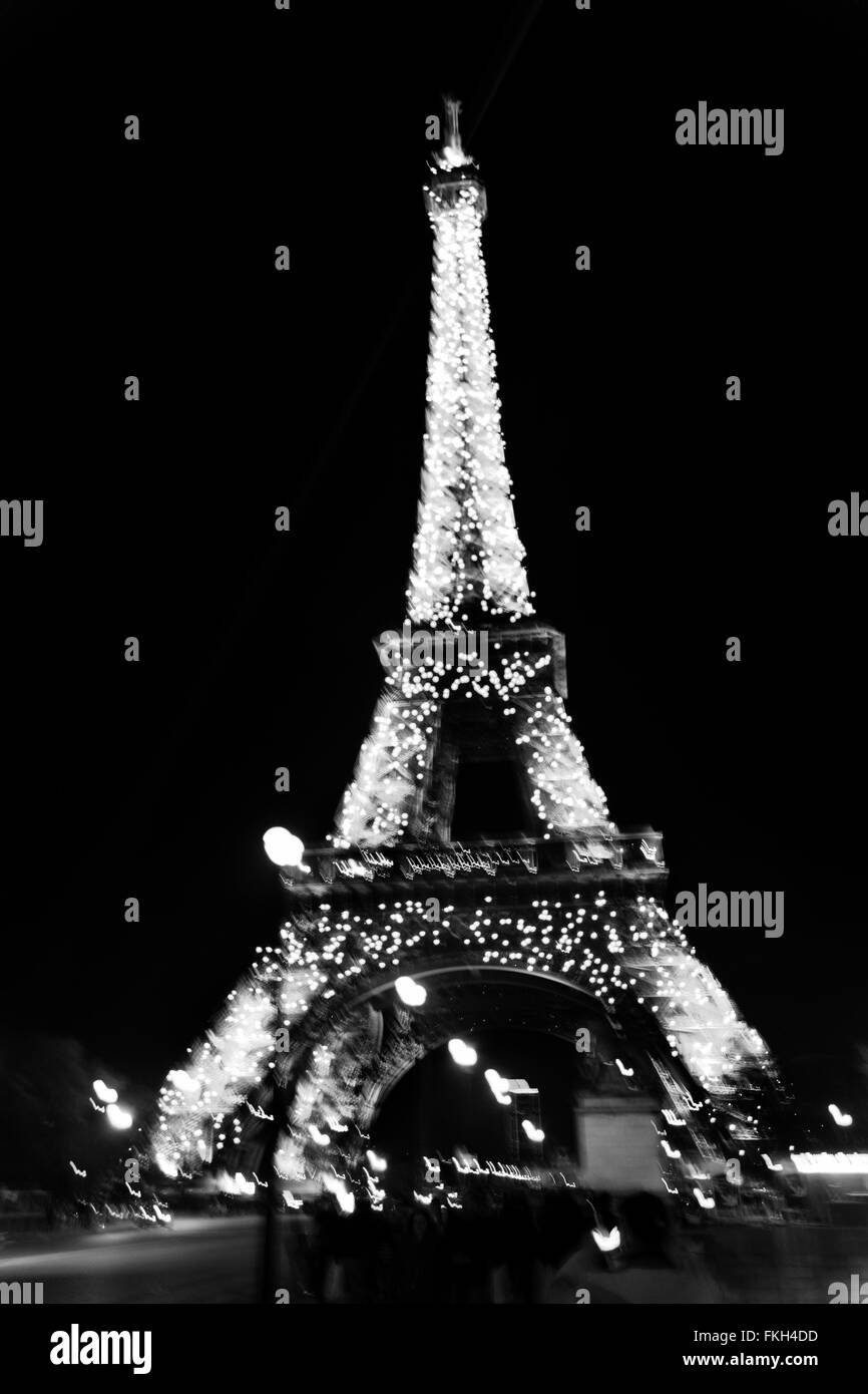 Eiffel Tower during nigthtime in Paris, France. - Stock Image
