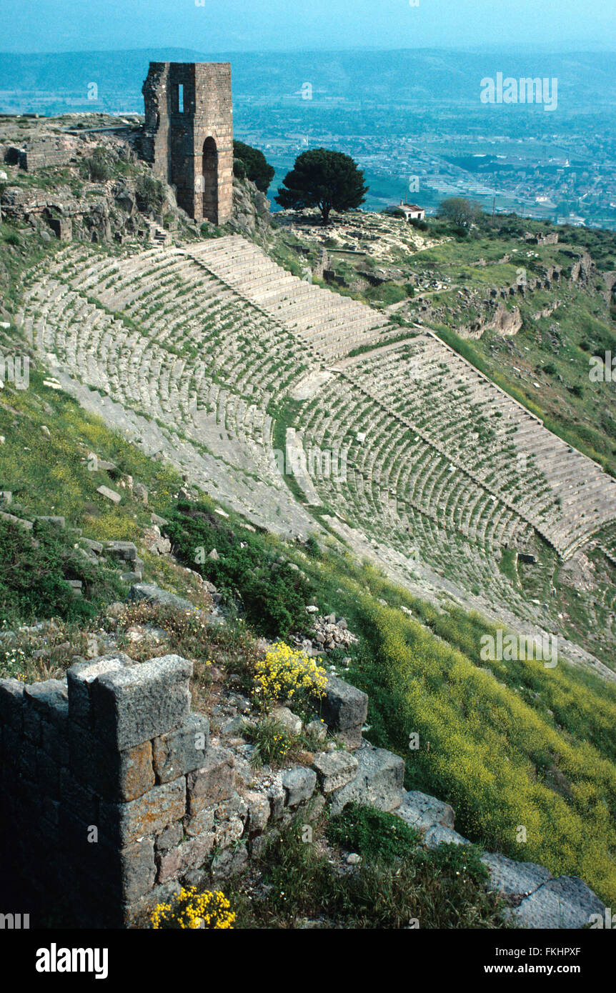 Antique Greek or Hellenistic Theatre or Theater at Pergamon or Pergamum, present-day Bergama, Turkey - Stock Image
