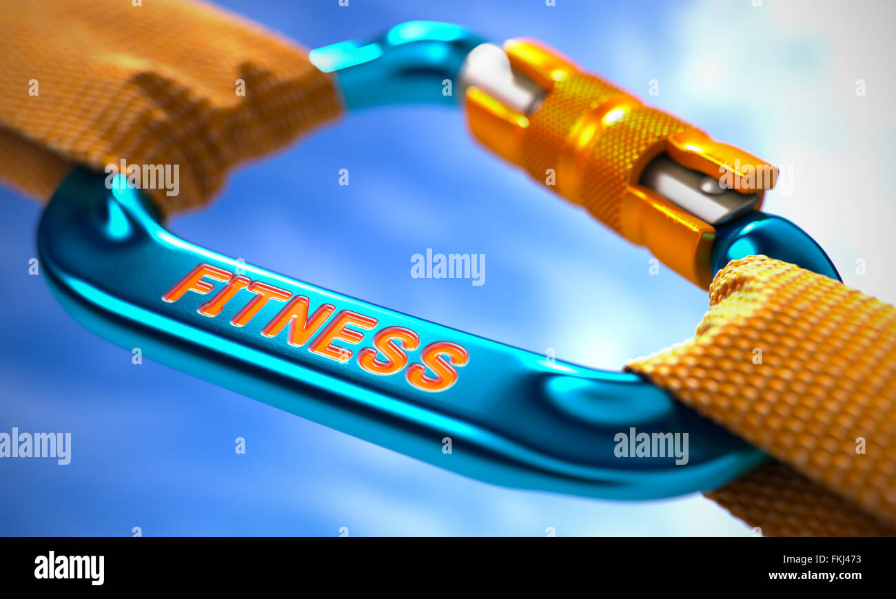 Fitness on Blue Carabine with a Orange Ropes. - Stock Image