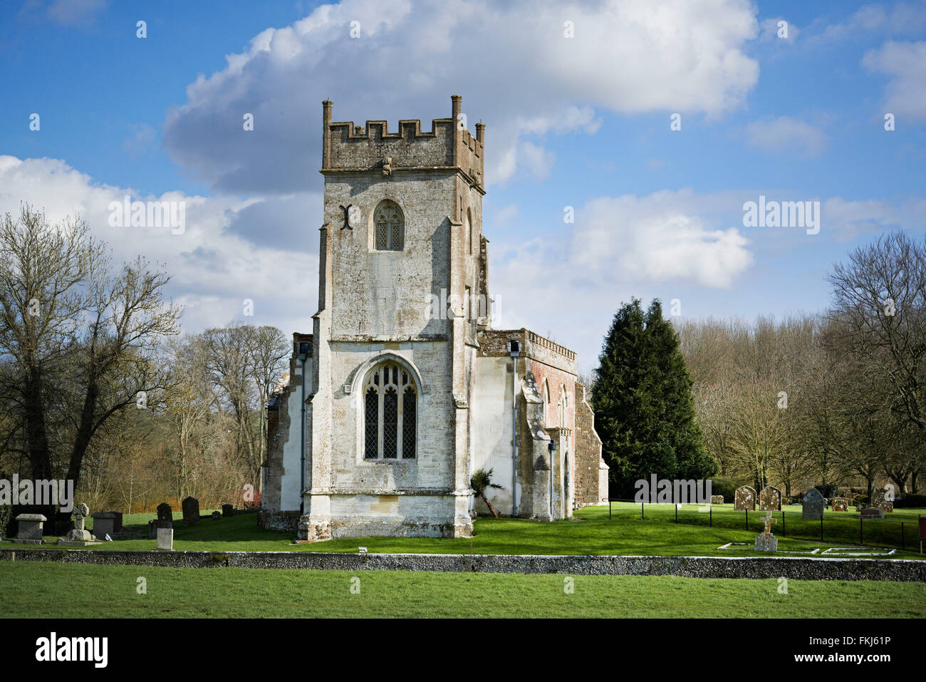 A Rural Church ,Naive,Pathway and Trees - Stock Image