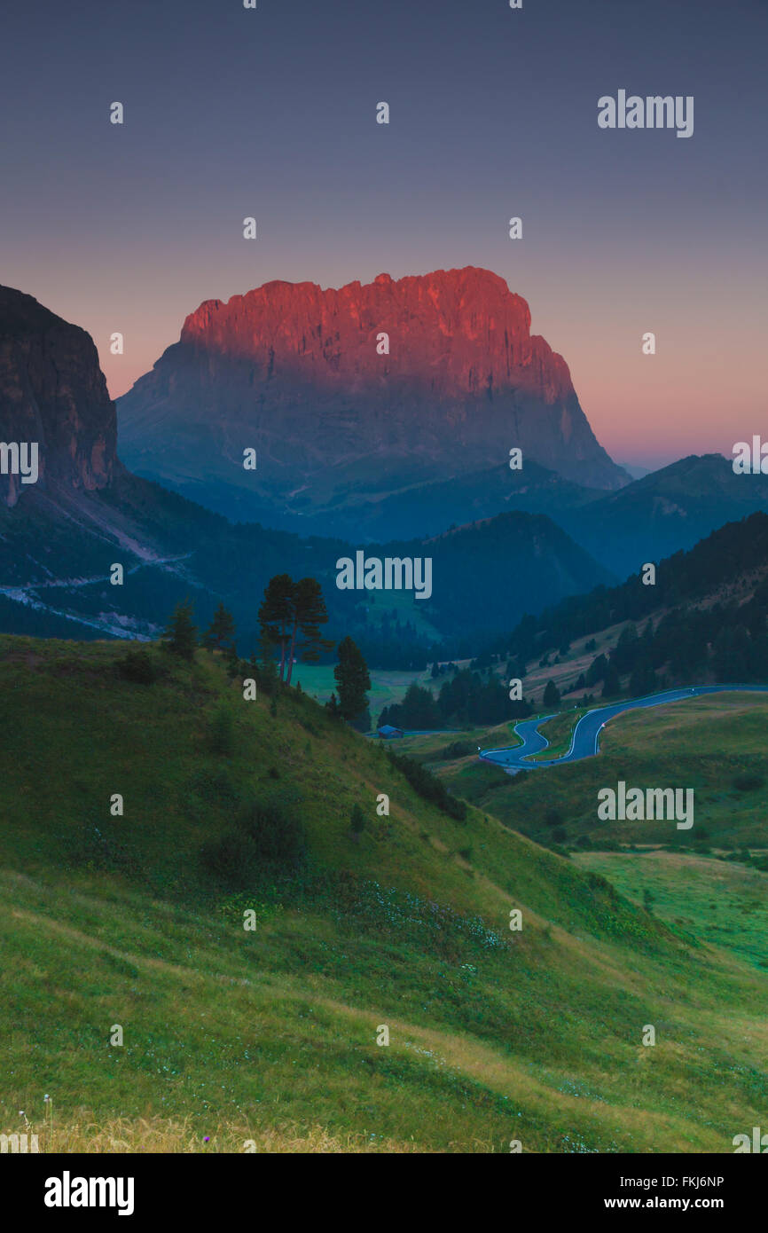 Sunrise in Passo Sella, Dolomite Mountains Stock Photo
