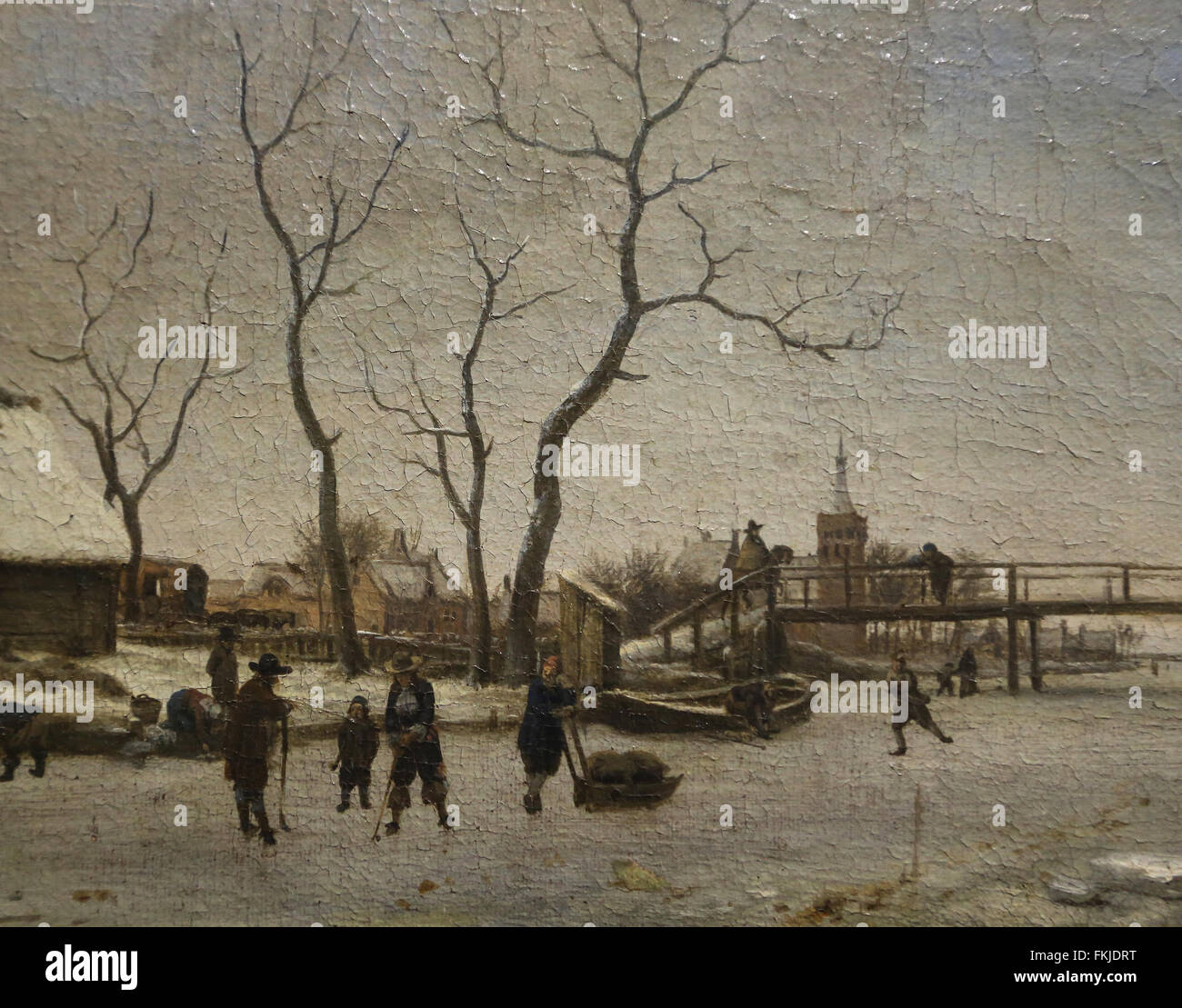 Adriaen van de Velde (1636-1672). Frozen Canal with skaters and hockey players. 1668. Oil on canvas. Louvre Museum. - Stock Image