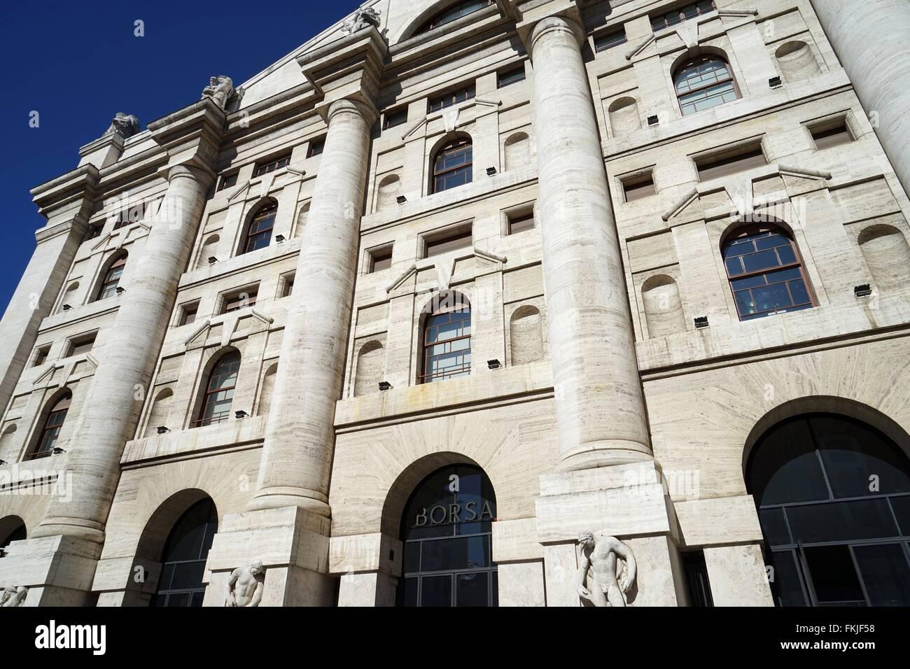 Italy: Italy's main stock exchange 'Borsa Italiana' in Milan. Photo from 03. March 2016. - Stock Image