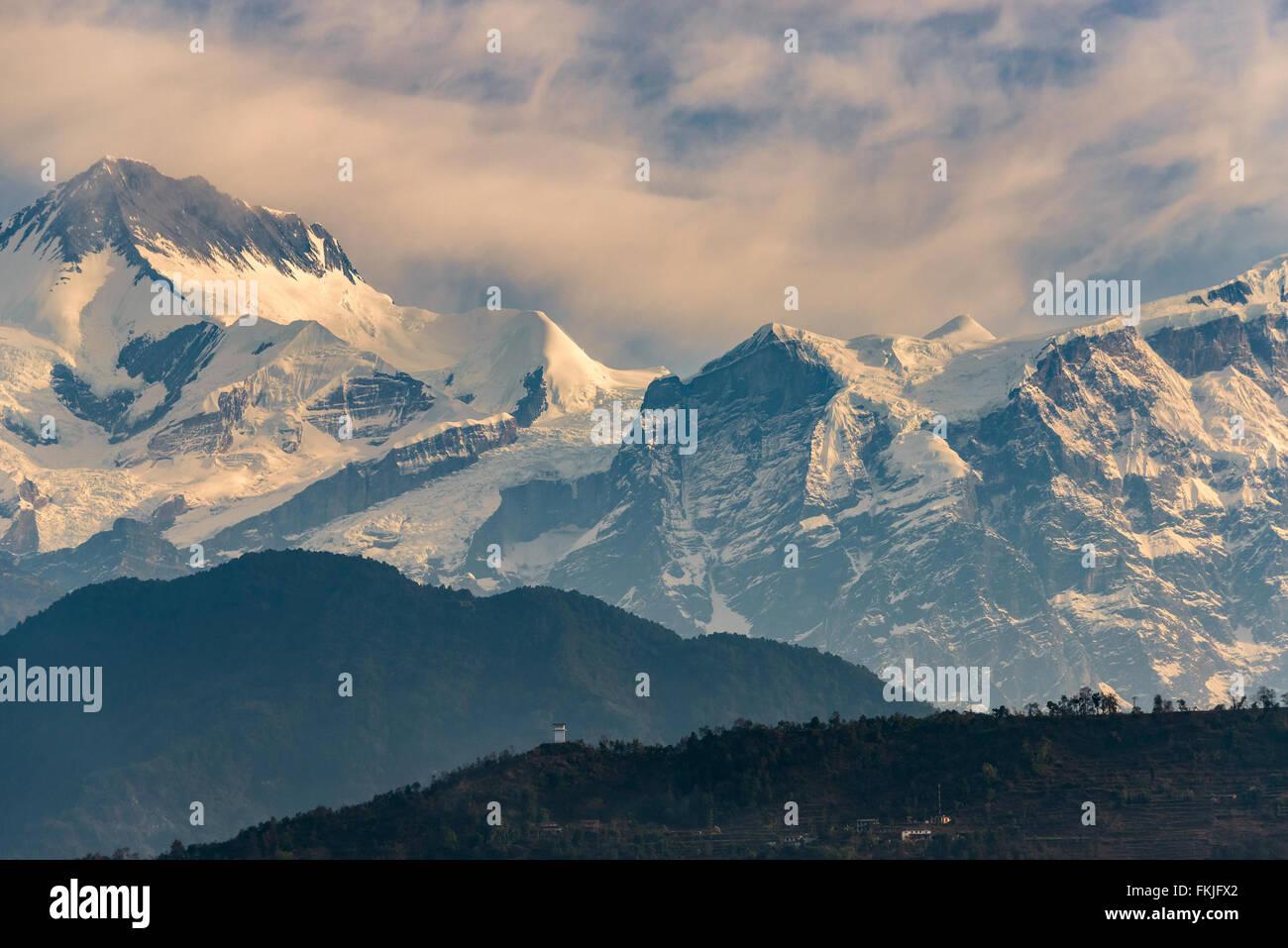 Part of the Annapurna range at sunrise - Stock Image