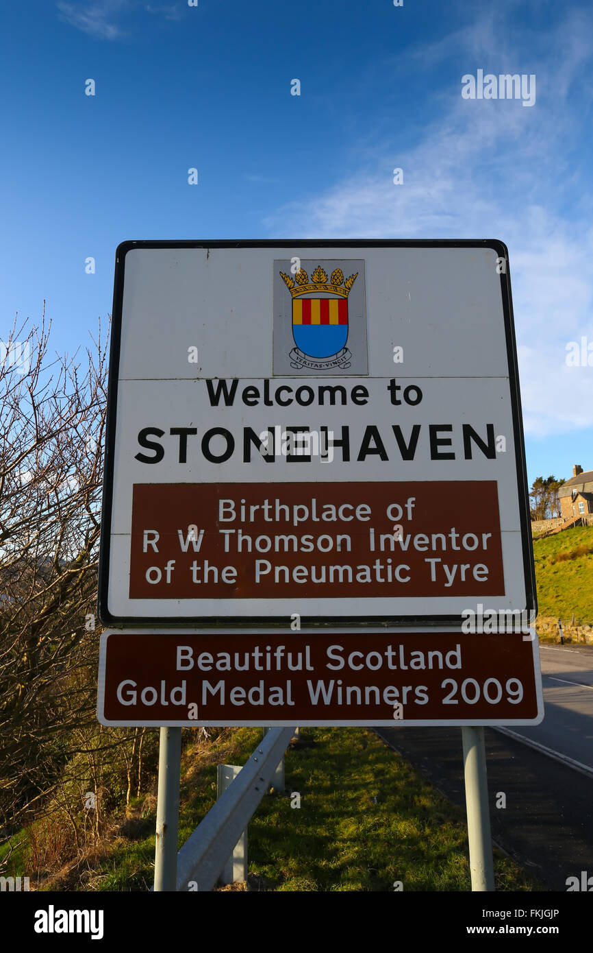 Sign at the entrance to the former fishing village of Stonehaven in Aberdeenshire, Scotland, UK - Stock Image