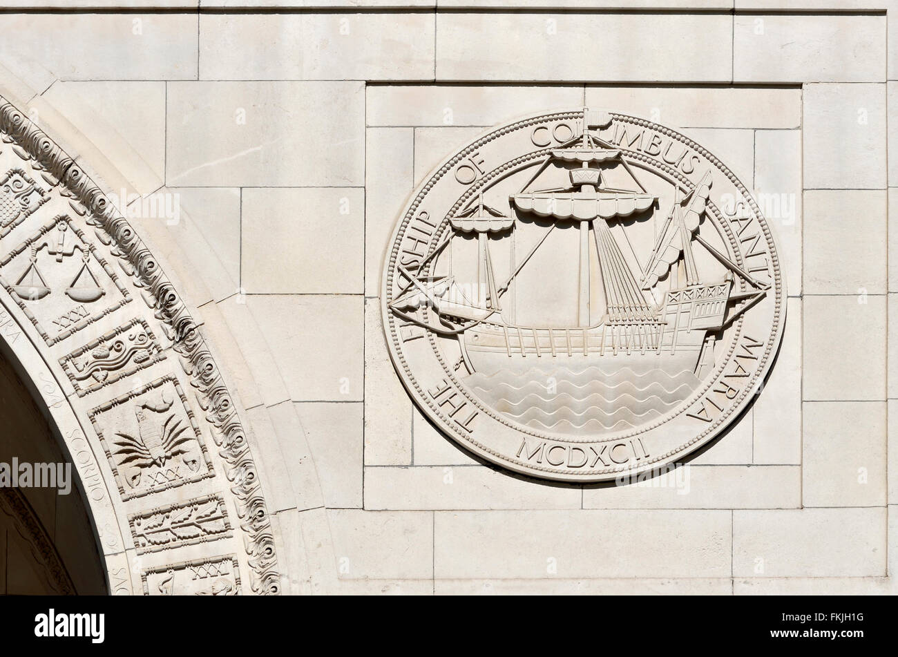 London, England, UK. Santa Maria, the Flagship of Columbus MCDXCII (1492) carved stone relief on the exterior wall - Stock Image