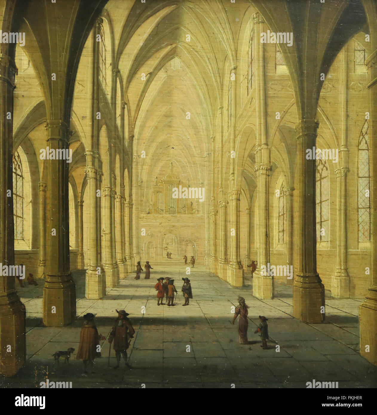 FLANDERS (or Holland?). 17th c. Interior Church. View from the choir. Formerly attributed to Neefs then Baden. Louvre - Stock Image