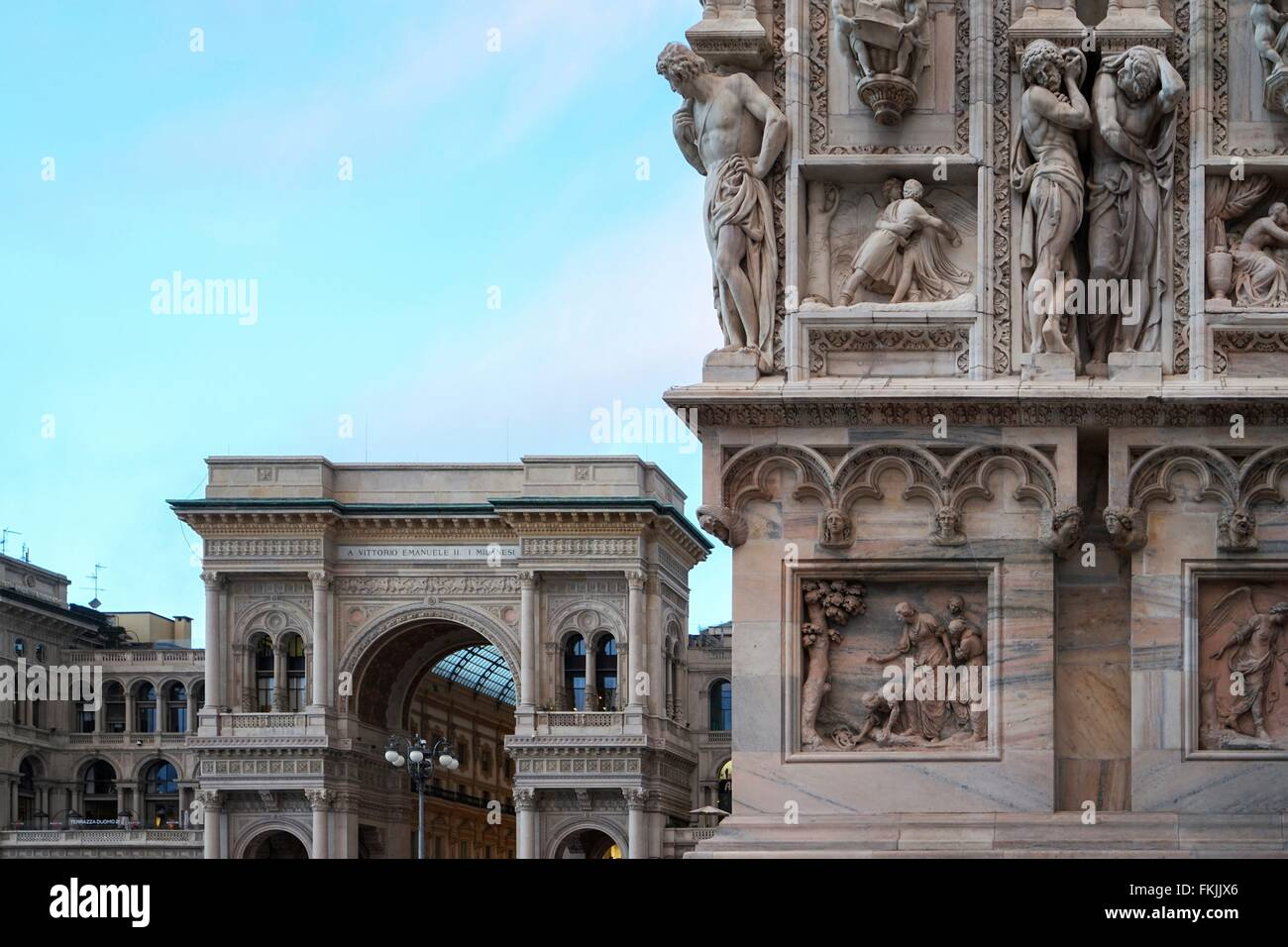 Italy: Main entrance of Galleria Vittorio Emanuele II, seen from Piazza del Duomo in Milan. Photo from 3. March Stock Photo