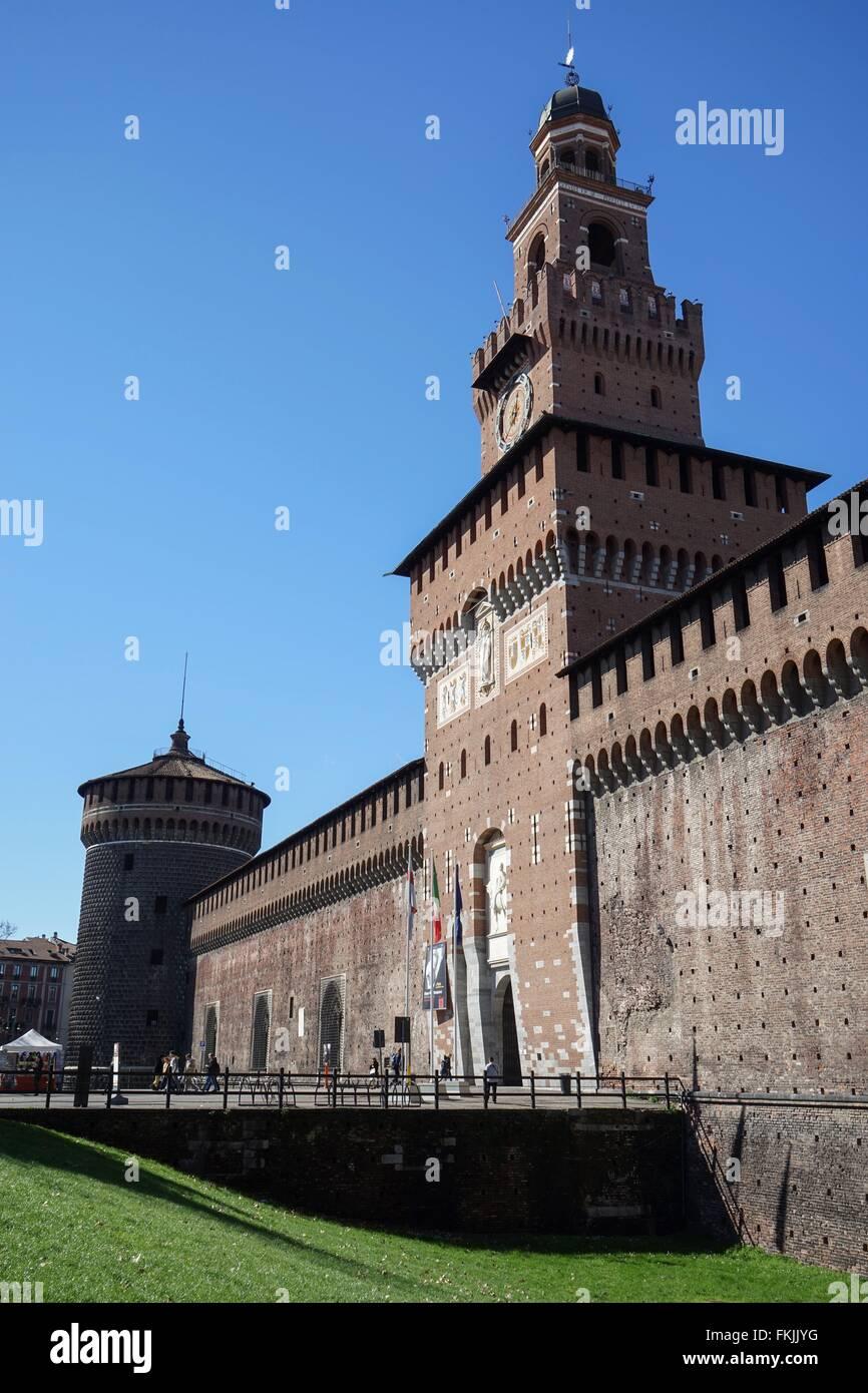 Italy: Main entrance of Milan's Castello Sforzesco with the Torre del Filarete. Photo from 03. March 2016. Stock Photo