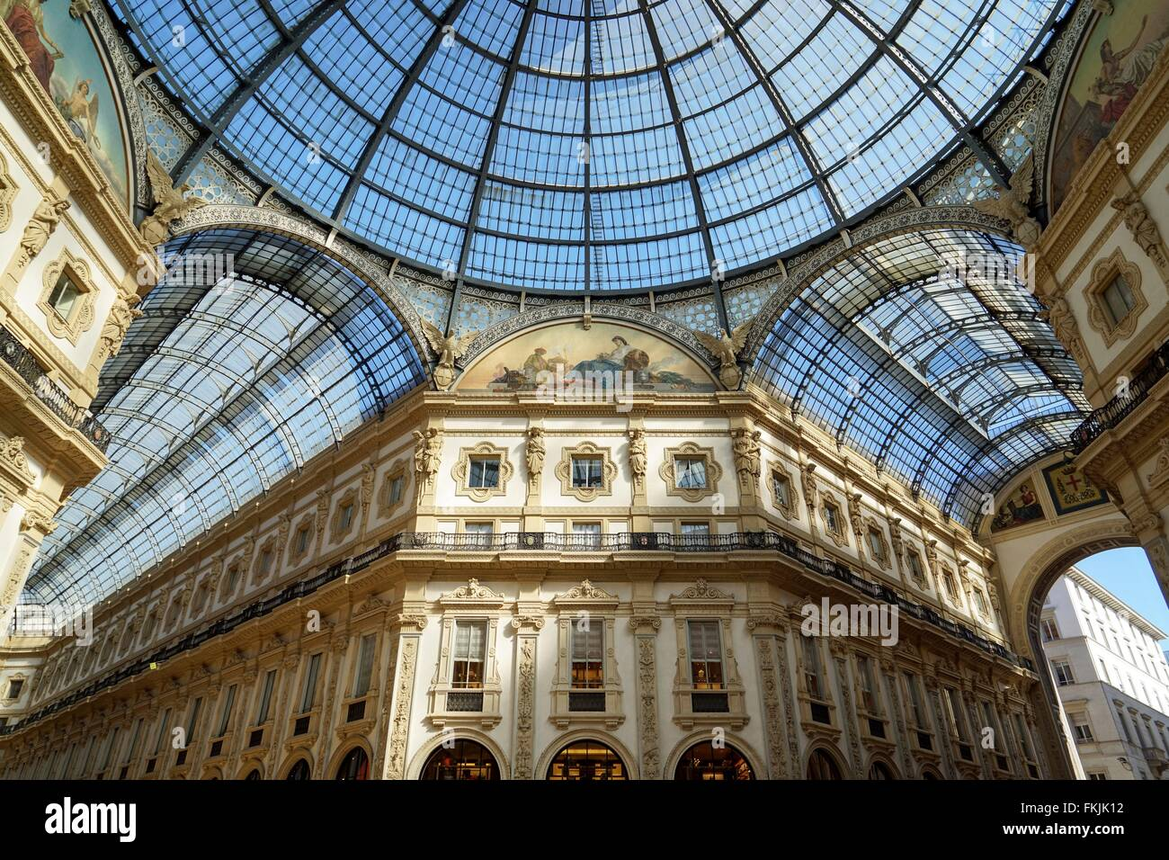 Italy: Inside Galleria Vittorio Emanuele II, Milan. Photo from 3. March 2016. Stock Photo