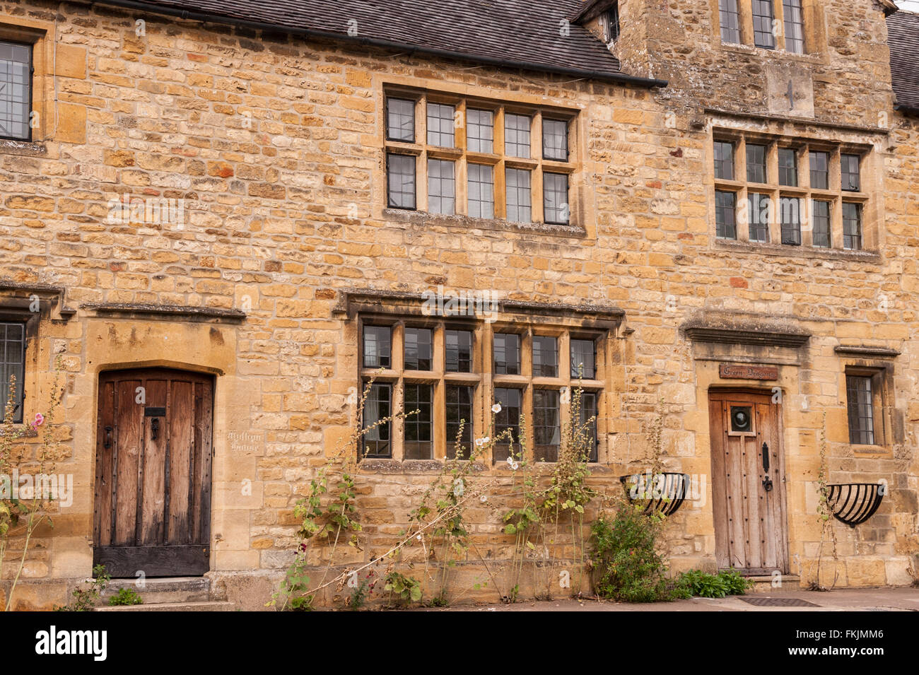 Old oak doors on a property in Chipping Campden , Gloucestershire , England , Britain , Uk - Stock Image