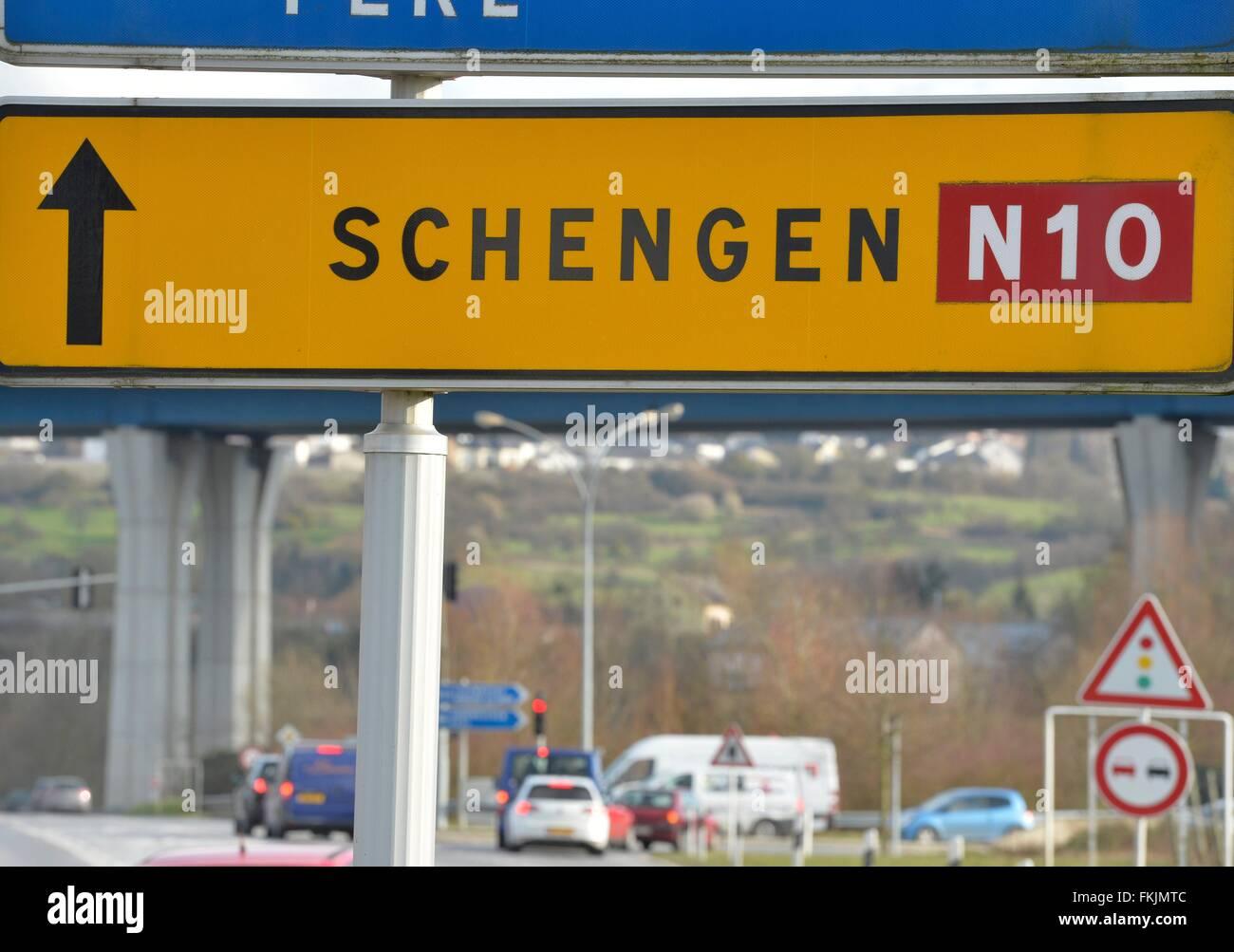 road sign Schengen, Schengen, March 7, 2016. - Stock Image