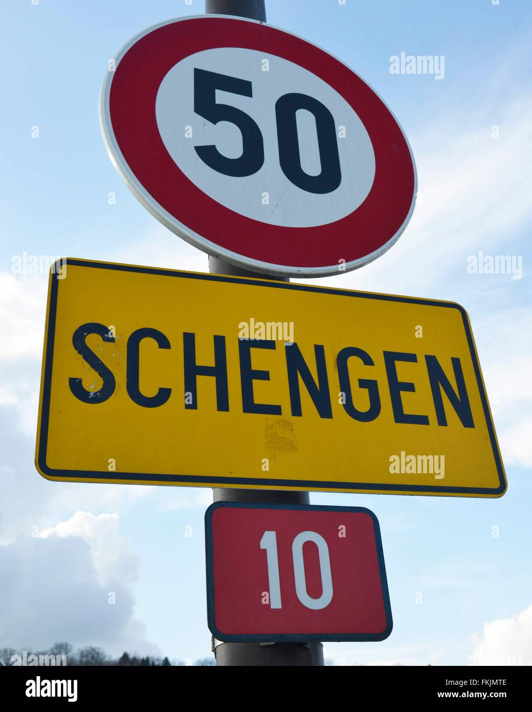 town sign Schengen, March 7, 2016. - Stock Image