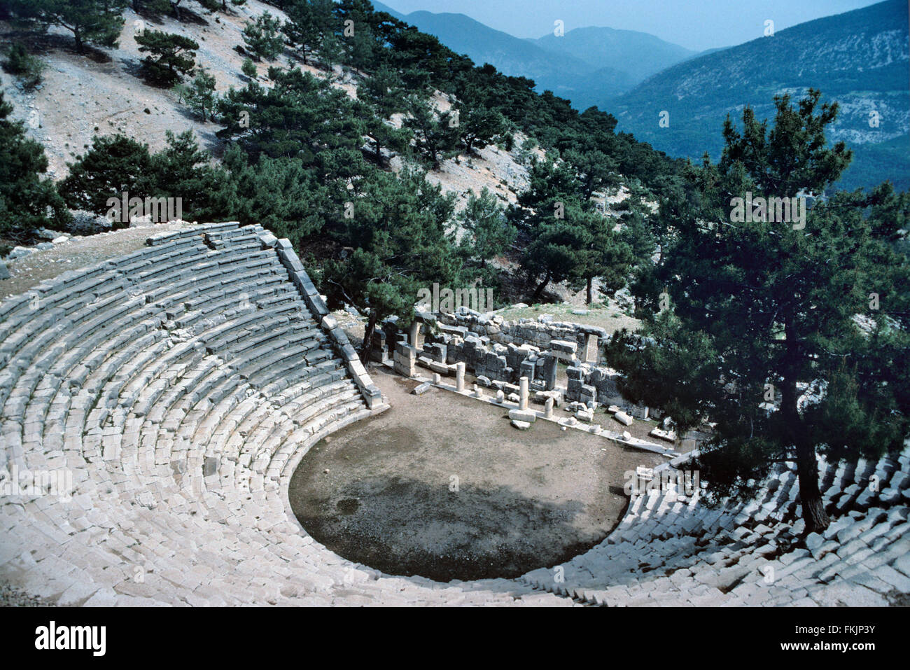 Antique Greek Theater (c1st BC) at the Ancient Lycian City of Arycanda or arykanda, Antalya, Turkey - Stock Image