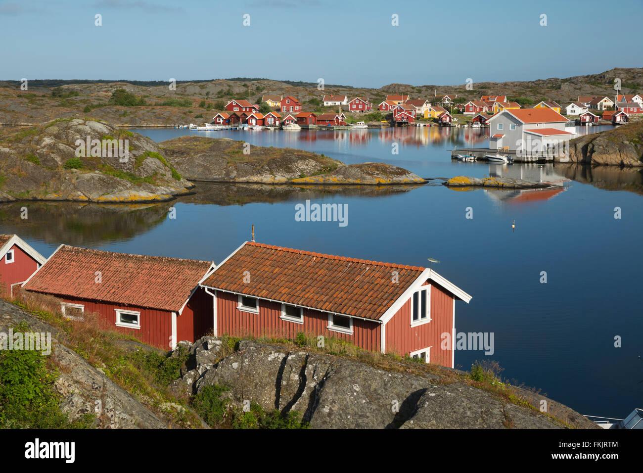 View to falu red fishermen's houses, Stocken, Orust, Bohuslän Coast, Southwest Sweden, Sweden, Scandinavia, - Stock Image