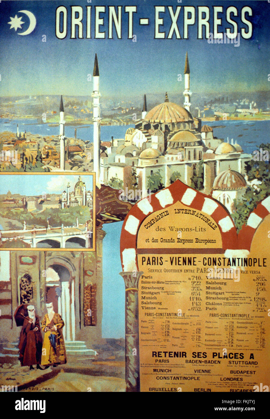 Vintage Advert or Publicity for the Orient Express Train with Background of Istanbul and the Suleimaniye Mosque - Stock Image